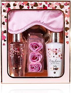 accentra Heart Cascade Set de Beauté avec Masque de Sommeil/Soin de Douche/Lotion pour Corps/Confettis de Bain pour Femme/...