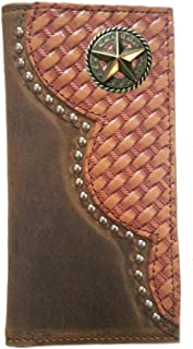 Custom Buckskin Color Texas Rope and Cross Basket Weave Long Leather Checkbook Wallet Proudly MADE IN THE USA