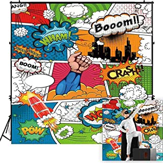 Funnytree 6x6ft Superhero Theme Party Backdrop Cartoon City Boy Baby Shower Birthday Photography Background Super Hero Cityscape Humor Abstract Banner Cake Table Decoration Photo Booth Props