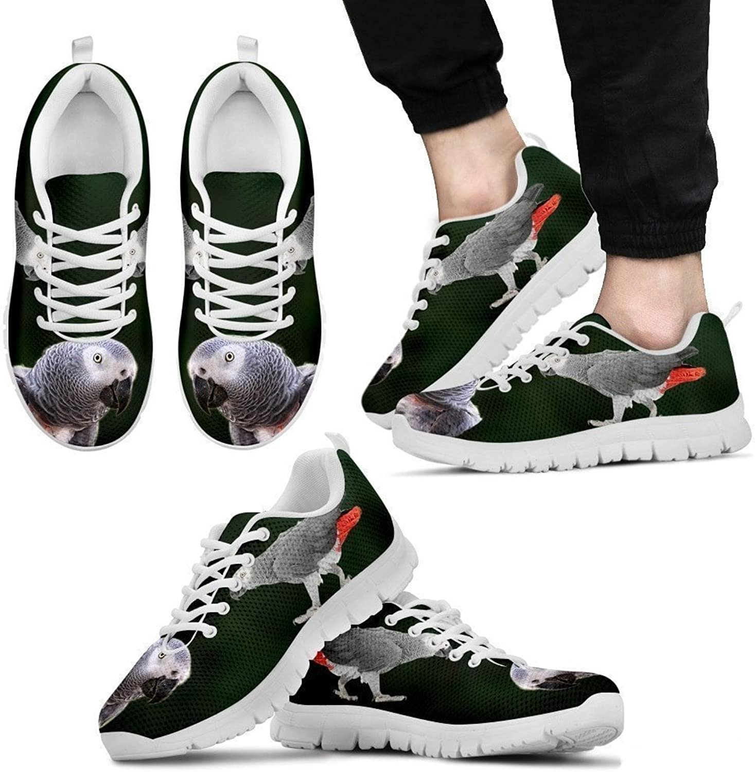 Pet By You African Grey Parred Walking 3D Printed Sneakers, Light Weight Sneakers for Men, Breathable Jogging Running Gym shoes, Mens Sneakers - US Sizes 5-12.