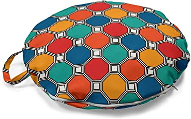 Ambesonne Geometric Round Floor Cushion with Handle, Design of Hexagonal Pattern Colorful Composition with Octagons and Squar
