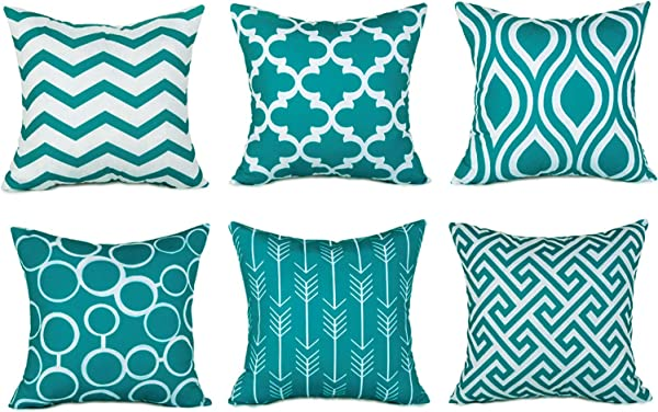 Top Finel Accent Decorative Throw Pillow Cases Durable Canvas Outdoor Throw Pillow Covers 20 X 20 For Couch Bedroom Set Of 6 Teal
