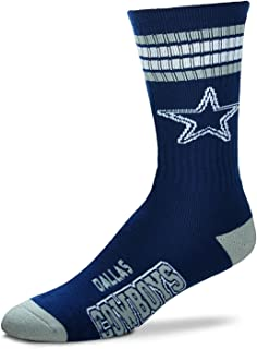 Dallas Cowboys 4 Stripe Youth Size NFL Crew Kids Socks (4-8 YRS)