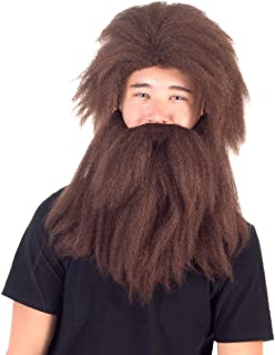 Adult Deluxe Prehistoric Cave Man Long Hair Wig and Beard Costume Accessory