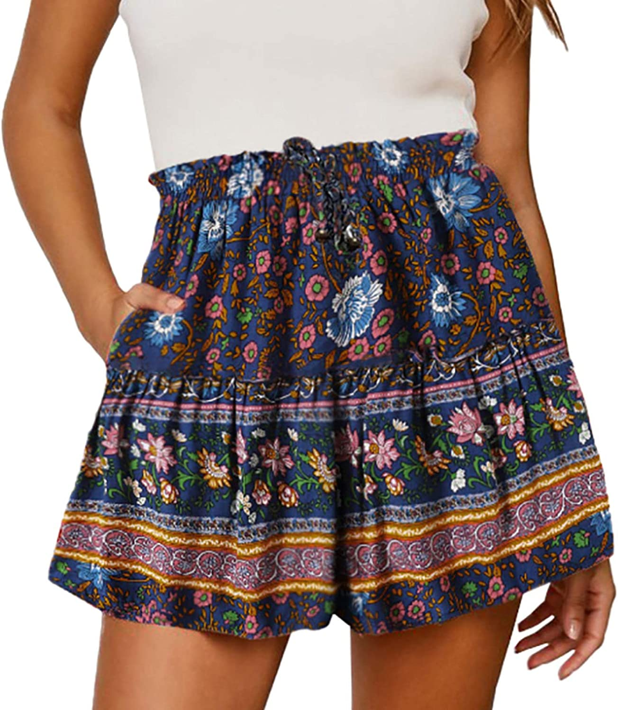 Ladies Personality Fashion Printed Shorts Drawstrin Casual Loose Elegant Genuine