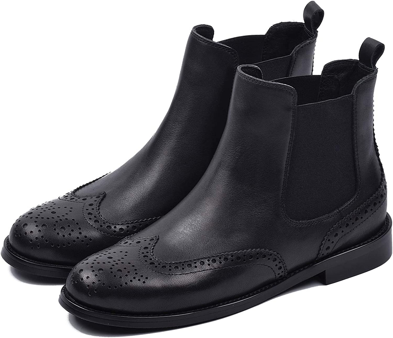 womenin Women Genuine Leather Ankle Boots Flat Heel Chelsea Boots for Women