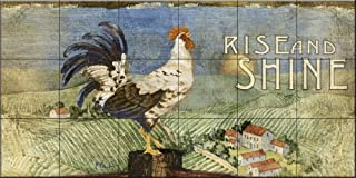 Ceramic Tile Mural - Rooster Signs I - by Paul Brent - Kitchen backsplash/Bathroom Shower