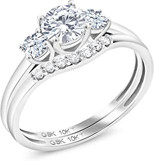10K White Gold 3-Stone Bridal Engagement Wedding Ring Set Timeless Brilliant Round (IJK) 0.50ct (DEW) Created Moissanite and Created Sapphire