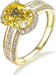 Daesar Anelli Oro Giallo 18K, Anello Matrimonio Donna Anelli Pietra Zaffiro 2.24ct Ovale Anelli Nuziali Oro