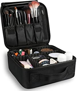Bvser Travel Makeup Case, PU Leather Portable Organizer Makeup Train Case Makeup Bag Cosmetic Case with Shoulder Strap and...