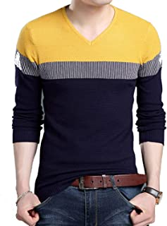 Eslove Sweaters Man Pullover V Neck Jumpers Knitwear Woolen Autumn Korean Style