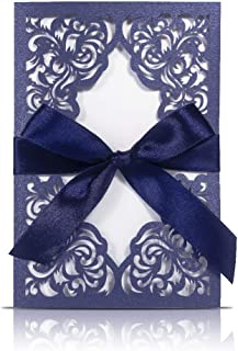 JOLALIA 25PCS Wedding Invitations with Envelopes, 4.7 x 7 Navy Blue Laser Cut Invitation Cards with Ribbons for Wedding Bridal Shower Baby Shower Birthday Party