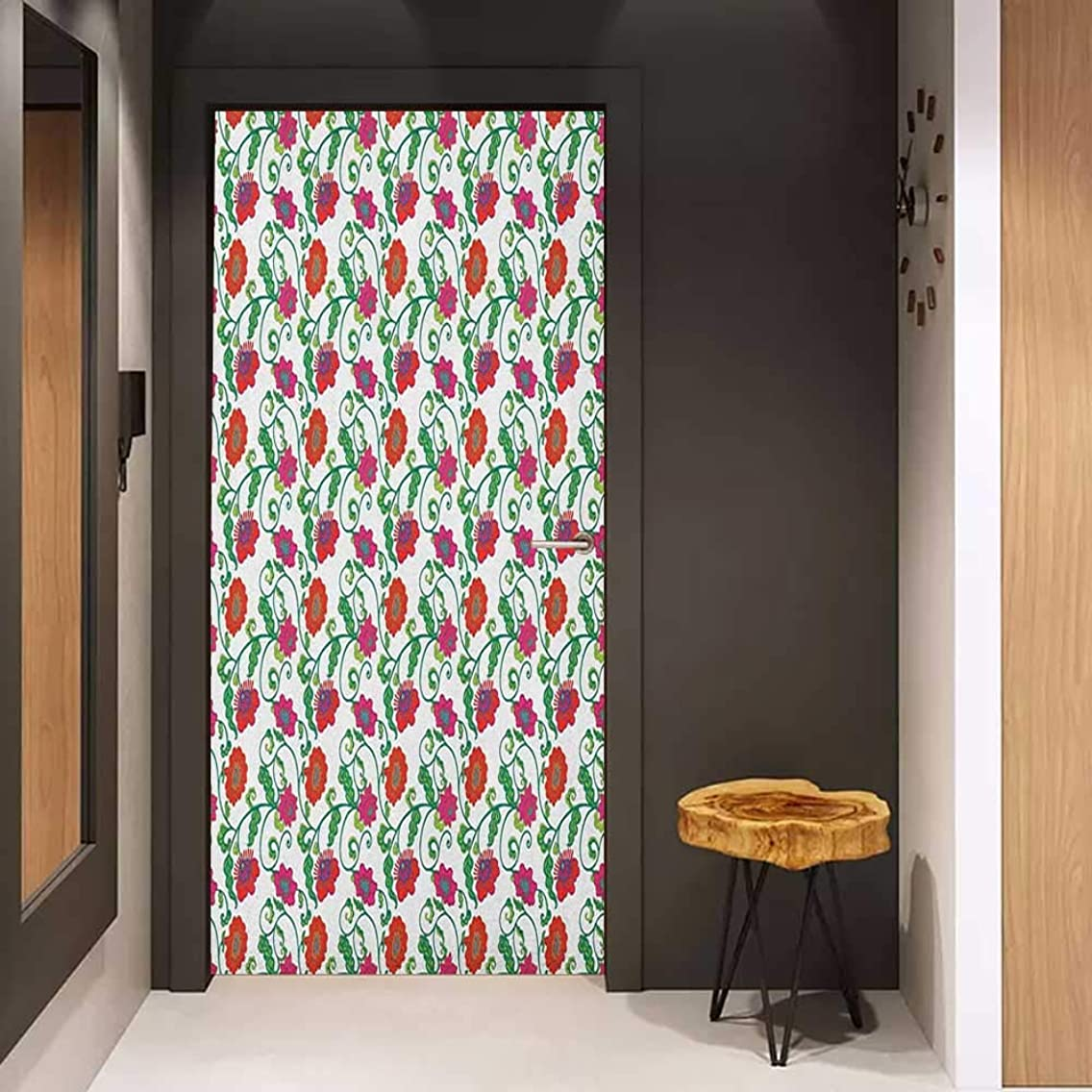 Onefzc Door Wall Sticker Floral Romantic Blooming Spring Flowers with Ornamental Swirled Branches and Foliage Leaves Mural Wallpaper W38.5 x H79 Multicolor