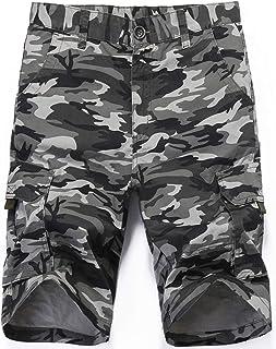Hombres Camuflaje táctico multibolsillo Pantalones Cortos Loose Fit Algodón Cargo Moda Casual Pantalones Cortos