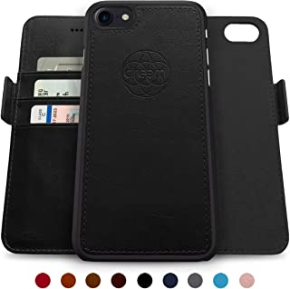 Dreem Fibonacci 2-in-1 Wallet-Case for iPhone 8-Plus & 7-Plus, Magnetic Detachable Shock-Proof TPU Slim-Case, Allows Wireless Charging, RFID Protection, 2-Way Stand, Luxury Vegan Leather - Black