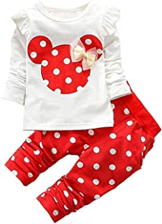 Baby Girl Clothes, 2 Pieces Long Sleeved Cute Toddler Baby Infant Outfits Set with Kids Tops and Pants Set