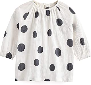 Toddler Girls Long Sleeve T-Shirt Summer 100% Cotton Tee Dot Printed Round Neck White Tops Clothes for 1-6T