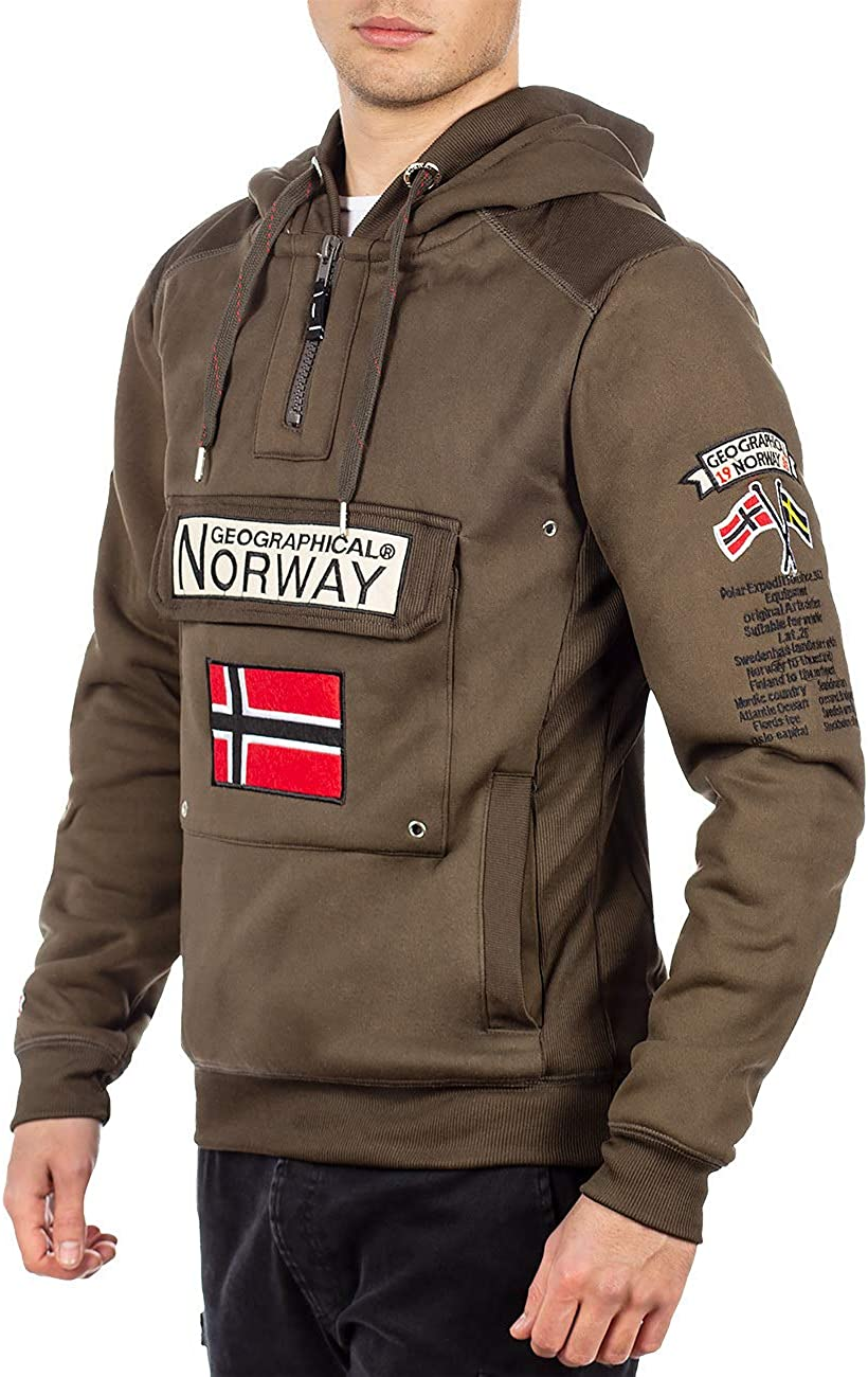 Geographical Norway Pull à capuche pour homme. Kaki