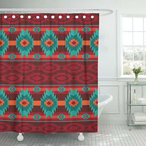 Emvency Shower Curtain Colorful Southwest Southwestern Navajo Abstract Aztec Waterproof Polyester Fabric 72 X Inches
