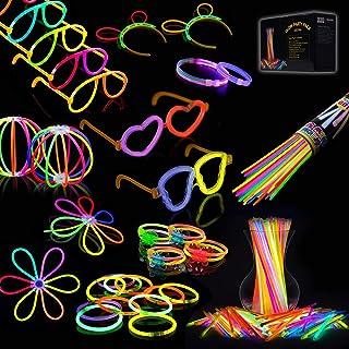 IREGRO 100 pcs Bâtons Lumineux et 132 pcs Accessoires, 20cm Multicolore Bracelets Fluorescents avec des Connecteurs pour F...