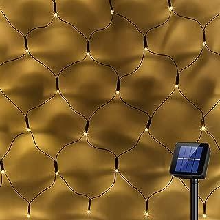 Solar Powered 200Led Net Light Mesh Fairy Light String Outdoor Waterproof,8 Light Modes,Auto On/Off,9.8ftx6.6ft Outside Garden Twinkle Light,Backyard Patio Balcony Wall Roof Curtain Decor-Warm White