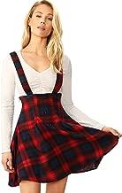SheIn Women's Tartan Plaid Button Decor Flared Skater Pinafore Suspender Overall Skirt