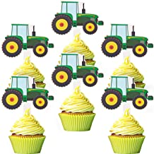 Blulu 56 Pieces Green Tractor Cupcake Toppers Truck Cars Cupcake Picks Construction Party Cupcake Toppers for Baby Shower ...