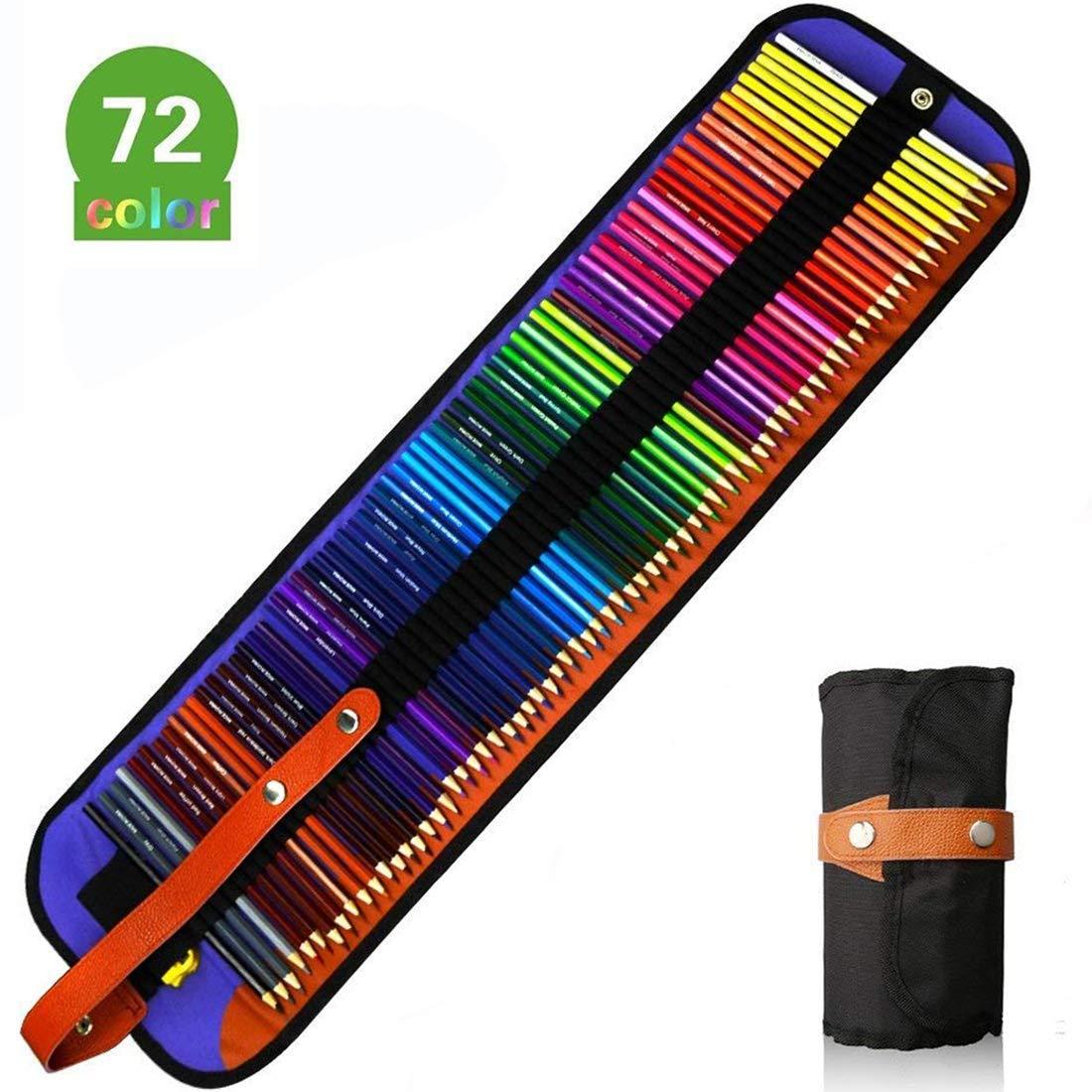 50 lápices de colores A-szcxtop con estuche de lona estilo retro y sacapuntas, varios colores, para colorear, libros de dibujo, dibujar y pintar 72pcs: Amazon.es: Oficina y papelería