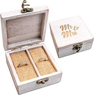 Strova Wooden Ring Box for Wedding Rings and Couple Jewelry - Engraved Mr. & Mrs. Lettering - Ring Bearer Box for Display ...