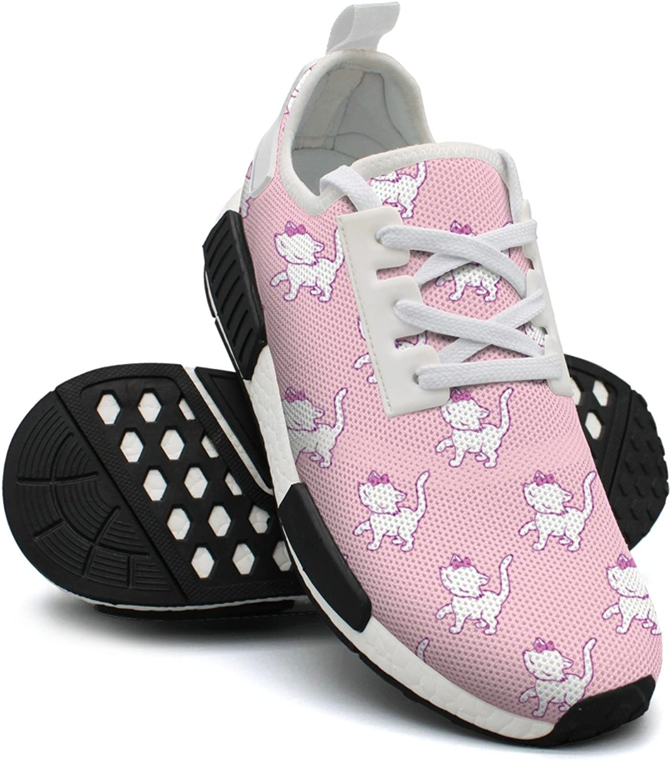 Cute Kitten Cat Pink Background Women's Unique Lightweight Basketball Sneakers Gym Outdoor Running shoes