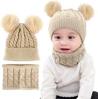 iFCOW Conjunto de gorro de punto para bebé, bufanda de invierno, suave, cálido, con pompón, gorro y pañuelo para cuello, 2...