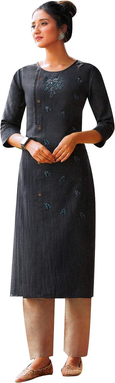 ladyline Crepe Silk 期間限定 Embroidered Handwork Kurti Women 5☆好評 Indian for