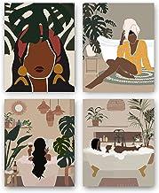 "Lakobos Modern Minimalist Black Woman Leaf Art Painting Set of 4 (7.9""X11.8"") Fashion Pop Boho Queen Girl Room Poster Pain..."