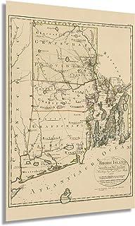 HISTORIX Vintage 1797 Rhode Island Map - 24x36 Inch Vintage Map of Rhode Island Wall Art Decor - Rhode Island Poster Shows...