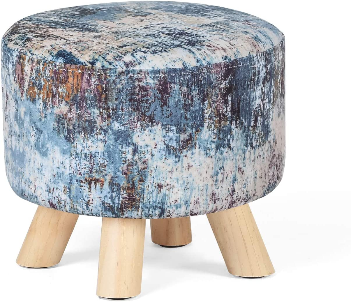 Homebeez Round Velvet Ottoman Footrest with 4 Seat Stool Padded Indianapolis Mall Super sale period limited