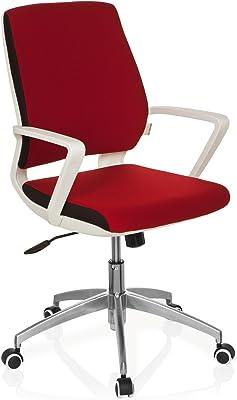 hjh OFFICE 719180 Sedia da ufficio/Sedia girevole ESTRA tessuto rosso con telaio bianco, meccanismo oscillante, regolabile in altezza, design moderno, stabile, 110 kg
