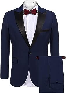 Mens Slim Fit 2 Piece Dress Suit One Button Tuxedo Blazer Jacket & Pants Set for Wedding Party Prom