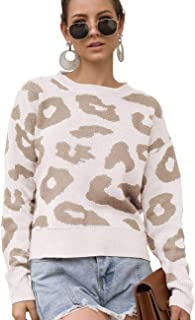 JojoQueen Women's Casual Leopard Print Tops Long Sleeve Crew Neck Knitted Oversized Pullover Sweaters