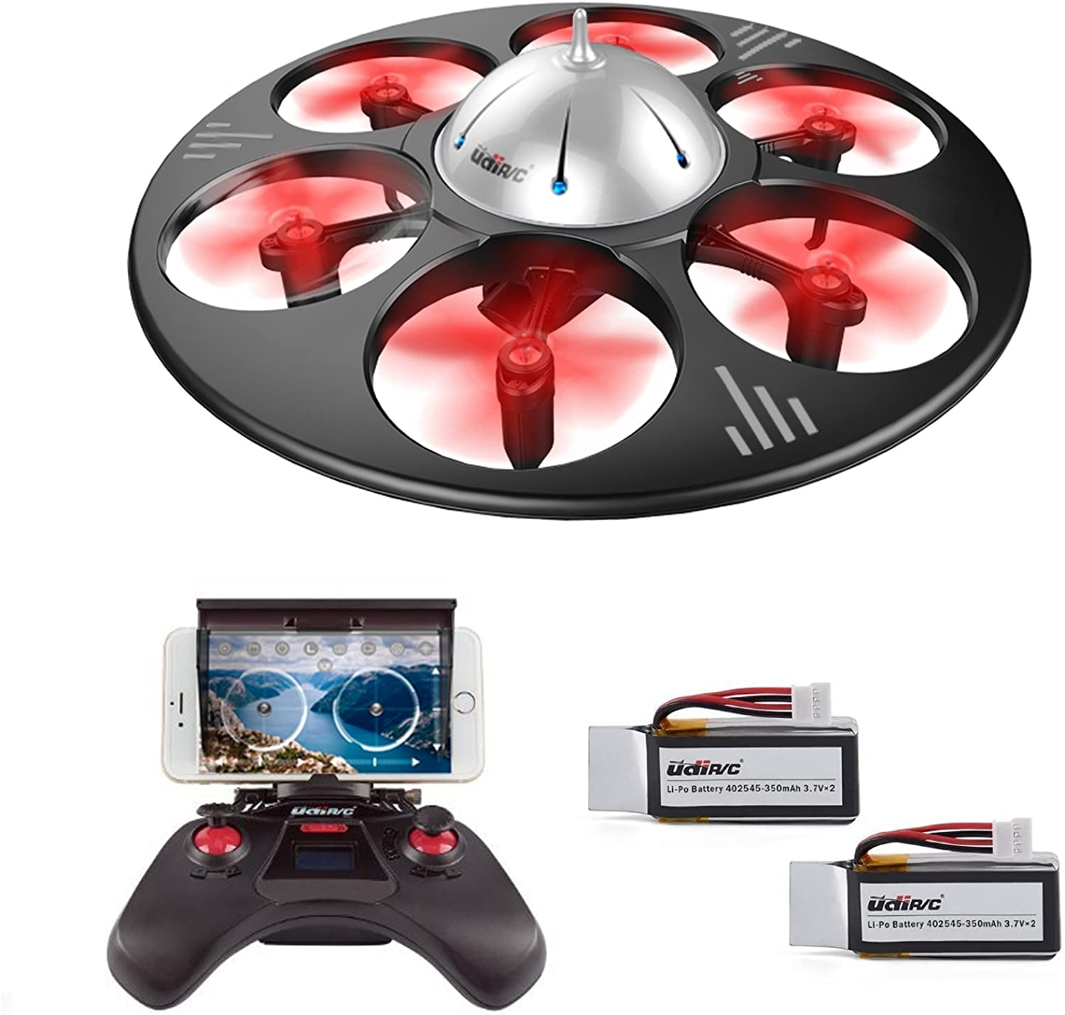 DBPOWER U845 UFO Drone for Kids with Camera Headless Mode Remote & Smartphone Control Modes with Extra Battery