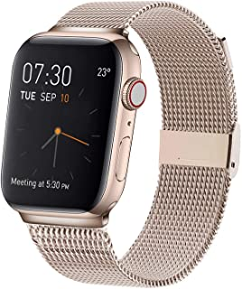 MCORS Compatible with Apple Watch Band 38mm 40mm 42mm 44mm,Stainless Steel Mesh Metal Loop with Adjustable Replacement Bands for Iwatch Series 5 4 3 2 1 Retro Gold