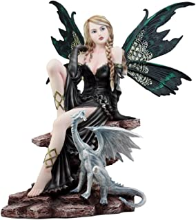 Ebros Gift Large Royal Queen Gothic Green Butterfly Fairy with White Dragon Statue 17