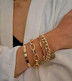 سوار سلسلة ذهبية من Denifery سوار وصلة ذهبية كوبية سوار ذهبي سحر سوار أساور مجوهرات للنساء الفتيات هدية (نمط 6)