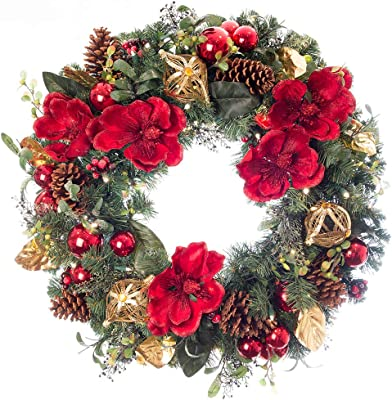 Amazon Com 30 Inch Artificial Christmas Wreath Red Magnolia Collection Red And Gold Decoration Pre Lit With 50 Warm Clear Colored Led Mini Lights Includes Remote Controlled Battery Pack