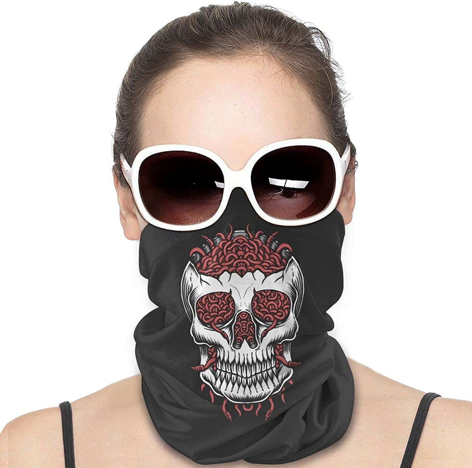 Skull head Worm Round Neck Gaiter Bandnas Face Cover Uv Protection Prevent bask in Ice Scarf Headbands Perfect for Motorcycle Cycling Running Festival Raves Outdoors