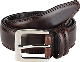 Men's Dress Belt ALL Genuine Leather Double Stitch...