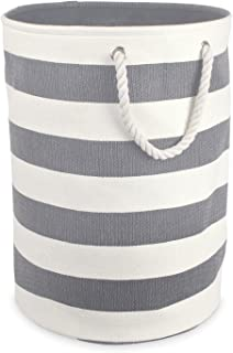 DII Collapsible Laundry Hamper or Basket for Bedroom, Nursery, Dorm, or Closet (Large Round) - Gray Rugby Stripe