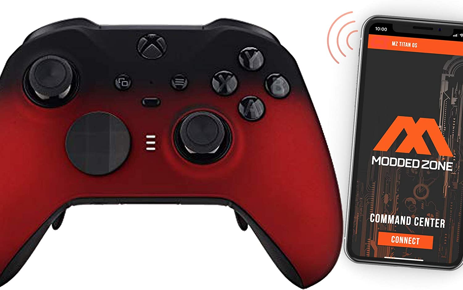 Shadow Red Custom Modded Controller Compatible with Xbox One Elite Series 2 Soft Touch Finish for All Shooter Games MW BO4