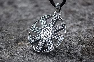 Kolovrat Pendant with Valkyrie Symbol Sterling Silver Slavic Jewelry