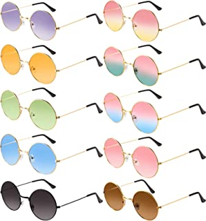 10 Pairs Round Hippie Sunglasses John 60's Style Circle Colored Glasses