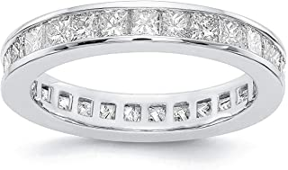 PAVOI 14K Gold Plated Cubic Zirconia Rings | Princess Cut Eternity Bands | Stackable Gold Rings for Women